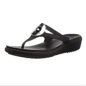 CROCS Shoes - Crocs Sanrah Hammered Metallic Wedge Flip Sandals